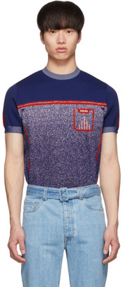Prada Blue Knit Milled Short Sleeve Sweater