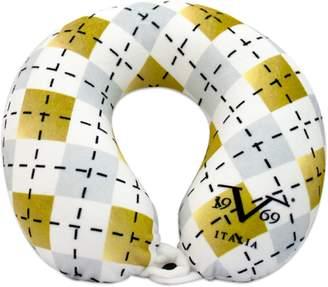 V19.69 Italia Extra Soft Stylish Memory Foam Neck Pillow, Memory Foam for Supportive Comfort (White Argyle)