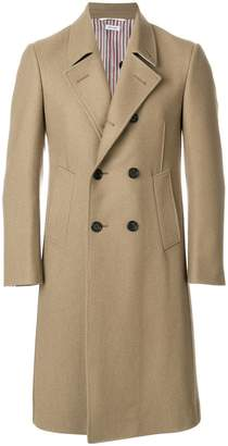 Thom Browne Melton Wool Pintuck Bal Collar Overcoat