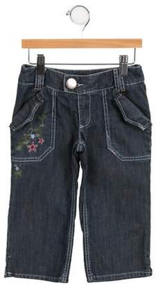 Kenzo Girls' Embroidered Wide-Leg Jeans