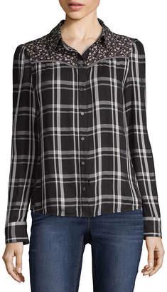 A.N.A Print Mix Western Shirt Womens Long Sleeve Modern Fit Button-Front Shirt