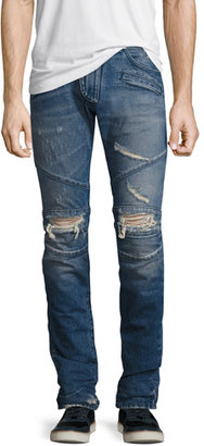Pierre Balmain Distressed Moto Slim-Straight Jeans, Blue $750 thestylecure.com