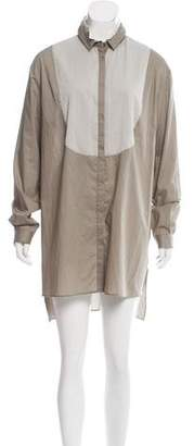 Fabiana Filippi Embellished Silk-Accented Shirtdress w/ Tags