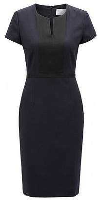 HUGO BOSS Shift dress in Italian stretch wool with notch neckline