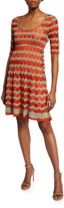 M Missoni Short-Sleeve Zigzag Stitch Short Dress