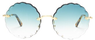 Chloé Rosie Round Frame Sunglasses - Womens - Dark Green