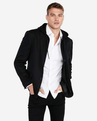 Express Slim Black Knit Zip Out Hood Blazer