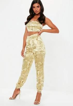 Missguided Gold Oriental Jacquard Combat Pants