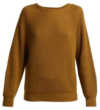Weekend Max Mara - Boat Neck Cotton And Wool Blend Sweater - Womens - Brown