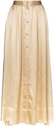 Deitas bell silk button down midi skirt