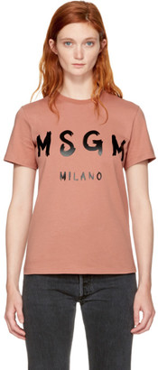 MSGM Pink Milano Logo T-Shirt $90 thestylecure.com