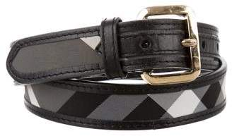 Burberry Leather-Trimmed Smoke Check Belt