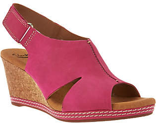 Clarks Nubuck Wedge Sandals with Backstrap -Helio Float