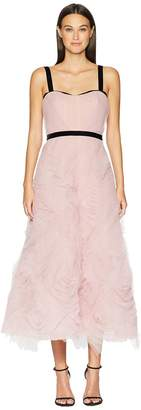 Marchesa Sleeveless Textured Tulle Tea Length Gown with Draped Corset Bodice and Velvet Trims Women's Dress