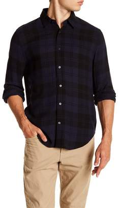 Vince Two Tone Plaid Long Sleeve Trim Fit Shirt