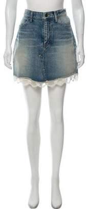 Saint Laurent Lace-Trimmed Denim Skirt