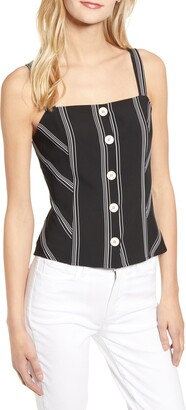 Vince Camuto Button-Up Stripe Top