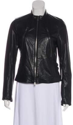 Vince Leather Zip-Up Jacket
