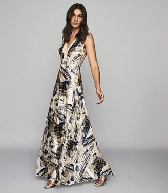 Reiss ALEXI MARBLE PRINTED MAXI DRESS Blue/white