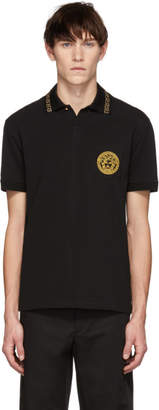 Versace Black and Gold Round Medusa Polo