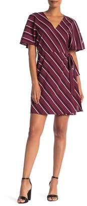 Vanity Room Multi Stripe Print Woven Wrap Dress