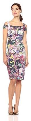 Nicole Miller New York Women's Printed Cold Shoulder Sheath Midi Dress