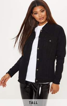 PrettyLittleThing Tall Black Oversized Denim Jacket