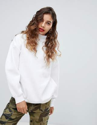 Bershka high neck oversized sweater in white