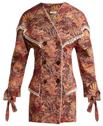 ATTICO The Floral Tapestry Brocade Mini Dress - Womens - Pink Multi