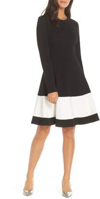 Eliza J Colorblock Stripe Fit & Flare Dress