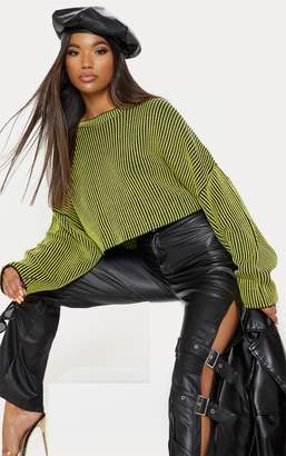 PrettyLittleThing Lime Two Tone Knit Batwing Cropped Jumper