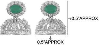 Glamorous MuchMore American Diamond CZ Fashion Jewelry Jade Stone Traditional Jhumki For Womens