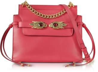 Roberto Cavalli Tulip Leather Shoulder Bag W/goldtone And Crystals Snake Heads