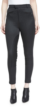ATM Anthony Thomas Melillo Cropped High-Rise Riding Pants, Charcoal $395 thestylecure.com