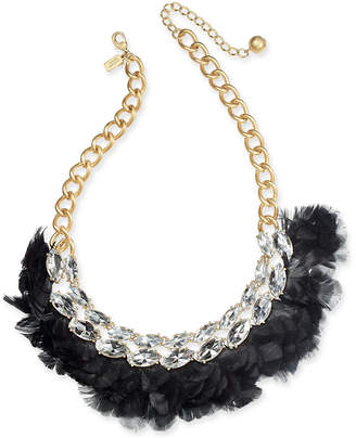 "Kate Spade Gold-Tone Crystal & Feather Statement Necklace, 16"" + 3"" extender"