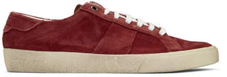 Saint Laurent Red Suede Court Classic SL/06 Sneakers