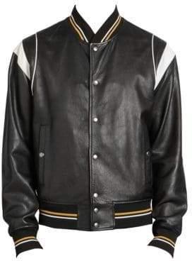 Givenchy Men's Leather Bomber Jacket - Black - Size 54 (44)