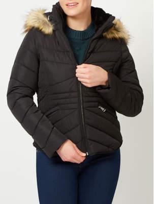 George Shower Resistant Faux Fur Trim Padded Coat