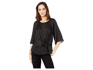 Vince Camuto Bell Sleeve Tie Front Keyhole Hammer Satin Blouse