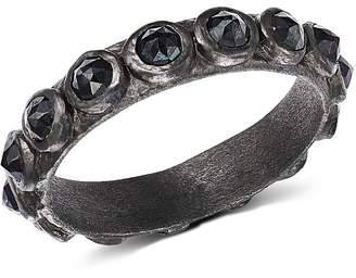 Armenta Blackened Sterling Silver New World Rose-Cut Black Spinel Ring