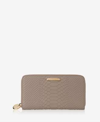 GiGi New York Large Zip Around Wallet In Stone Embossed Python