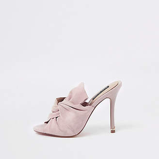 River Island Pink bow mule slim heel sandals