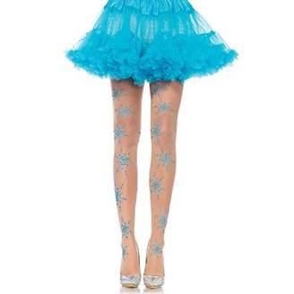 Leg Avenue Women's Let It Snow Spandex Sheer Glitter Snowflake Pantyhose