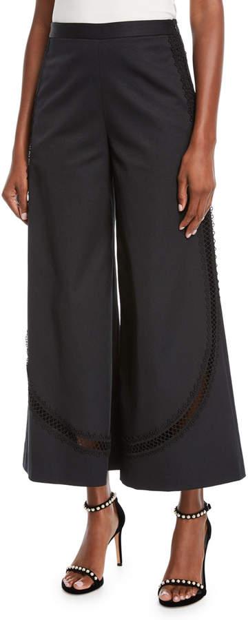 Sachin & Babi Viola Lace-Trimmed Wide-Leg Cropped Pants