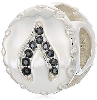 Swarovski Chamilia lucky wishbone - jet hematite crystal charm