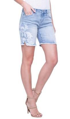 Liverpool Corine Flower Frayed Denim Shorts
