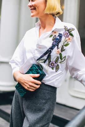 PatBO Embellished Cotton Poplin Top