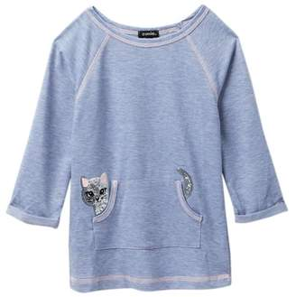 Zunie 3\u002F4 Roll Tab Sleeve Solid Tunic (Little Girls)
