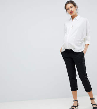 Asos DESIGN Maternity Chino Pants In Black With Under The Bump Waistband
