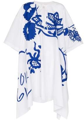 Marques Almeida Marques'Almeida floral embroidered asymmetric cotton kaftan dress